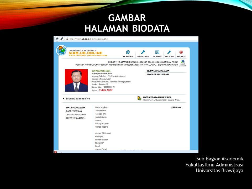 GAMBAR HALAMAN BIODATA Sub Bagian Akademik Fakultas Ilmu Administrasi Universitas Brawijaya