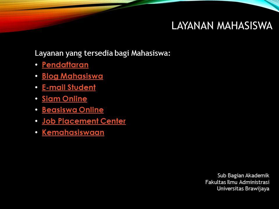 LAYANAN MAHASISWA Layanan yang tersedia bagi Mahasiswa: Pendaftaran Blog Mahasiswa Blog Mahasiswa E-mail Student E-mail Student Siam Online Siam Onlin