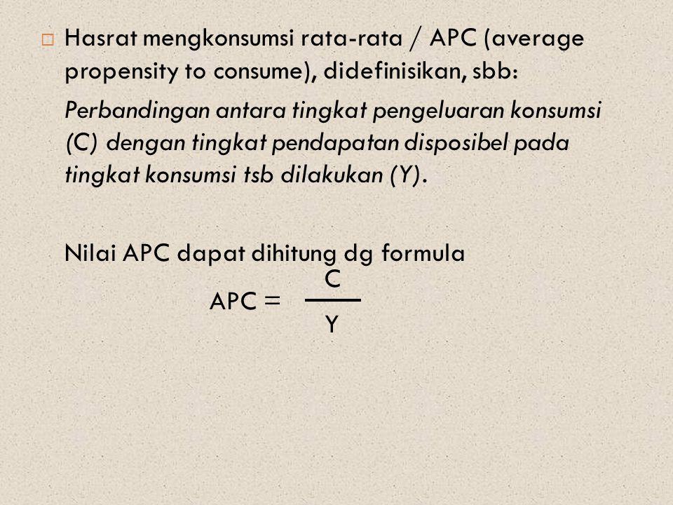 Hasrat mengkonsumsi rata-rata / APC (average propensity to consume), didefinisikan, sbb: Perbandingan antara tingkat pengeluaran konsumsi (C) dengan