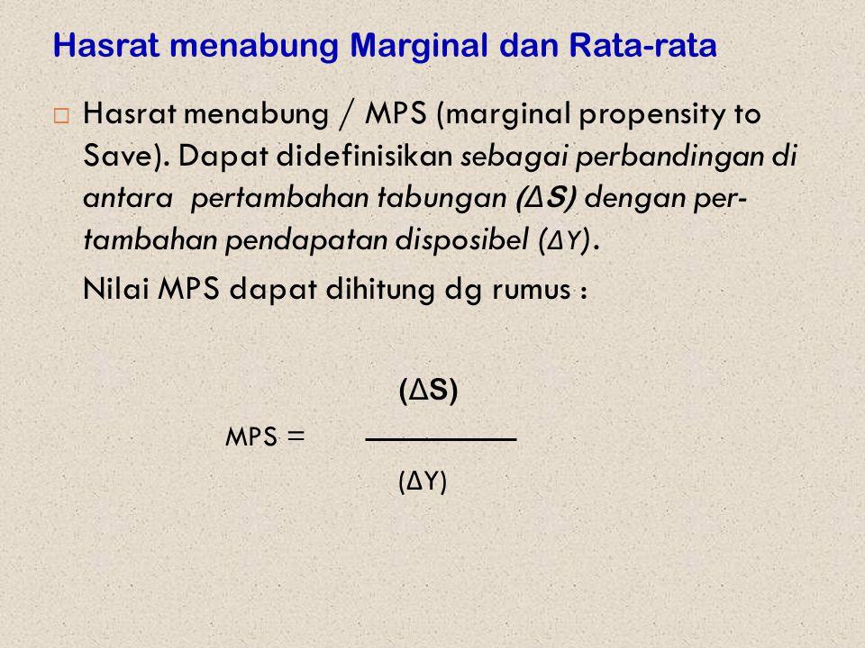 Hasrat menabung Marginal dan Rata-rata  Hasrat menabung / MPS (marginal propensity to Save). Dapat didefinisikan sebagai perbandingan di antara perta