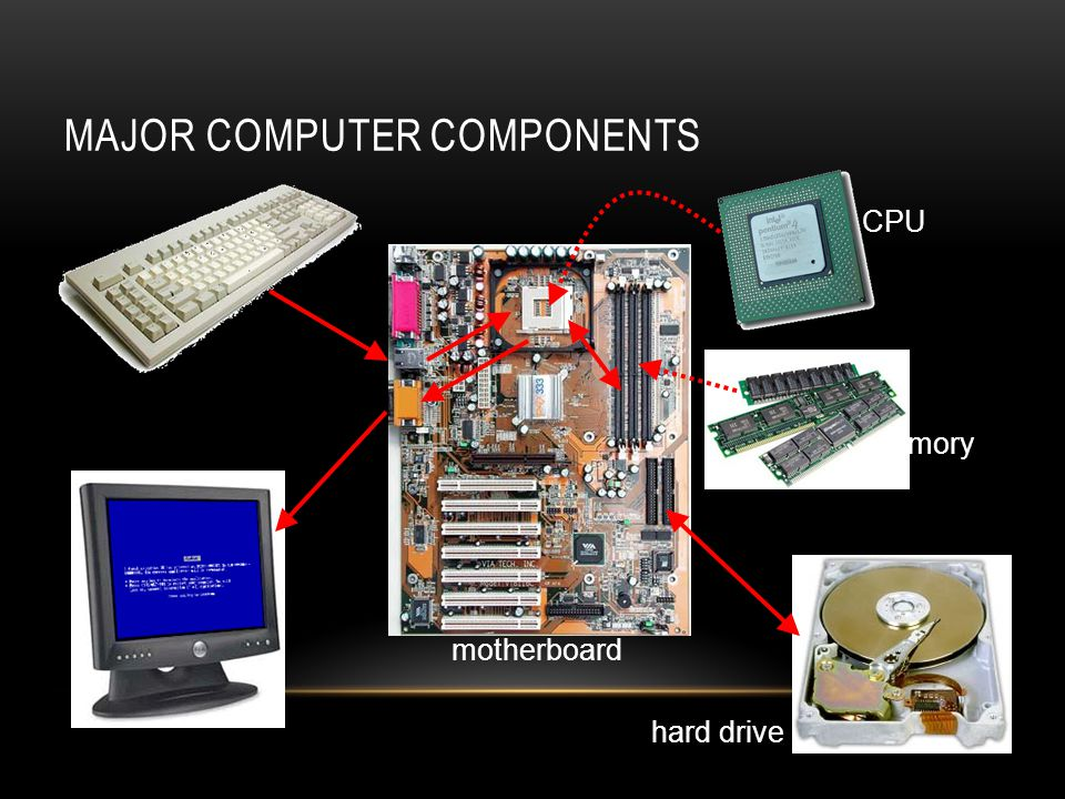 MAJOR COMPUTER COMPONENTS motherboard CPU memory hard drive