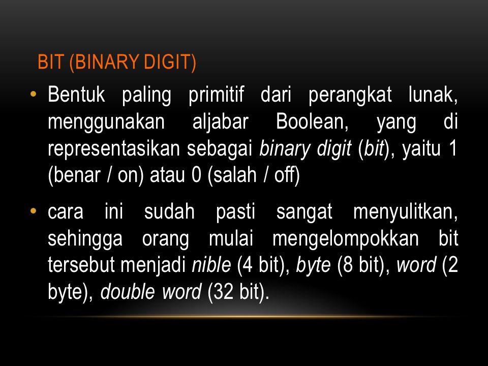 BIT (BINARY DIGIT) Bentuk paling primitif dari perangkat lunak, menggunakan aljabar Boolean, yang di representasikan sebagai binary digit ( bit ), yai