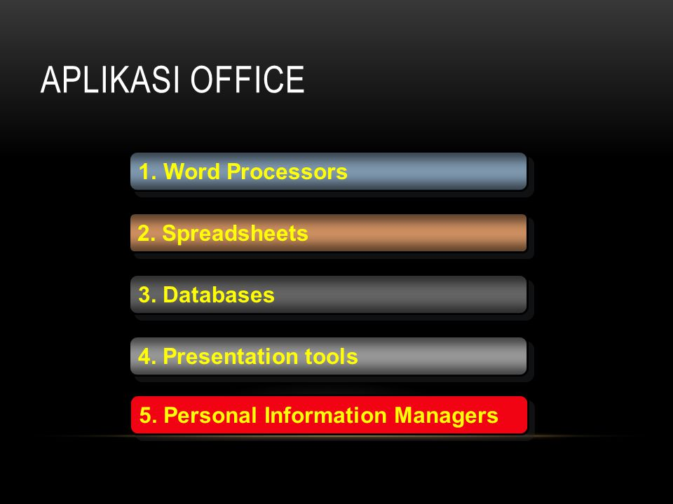 APLIKASI OFFICE 1.Word Processors 2. Spreadsheets 3. Databases 4. Presentation tools 5. Personal Information Managers