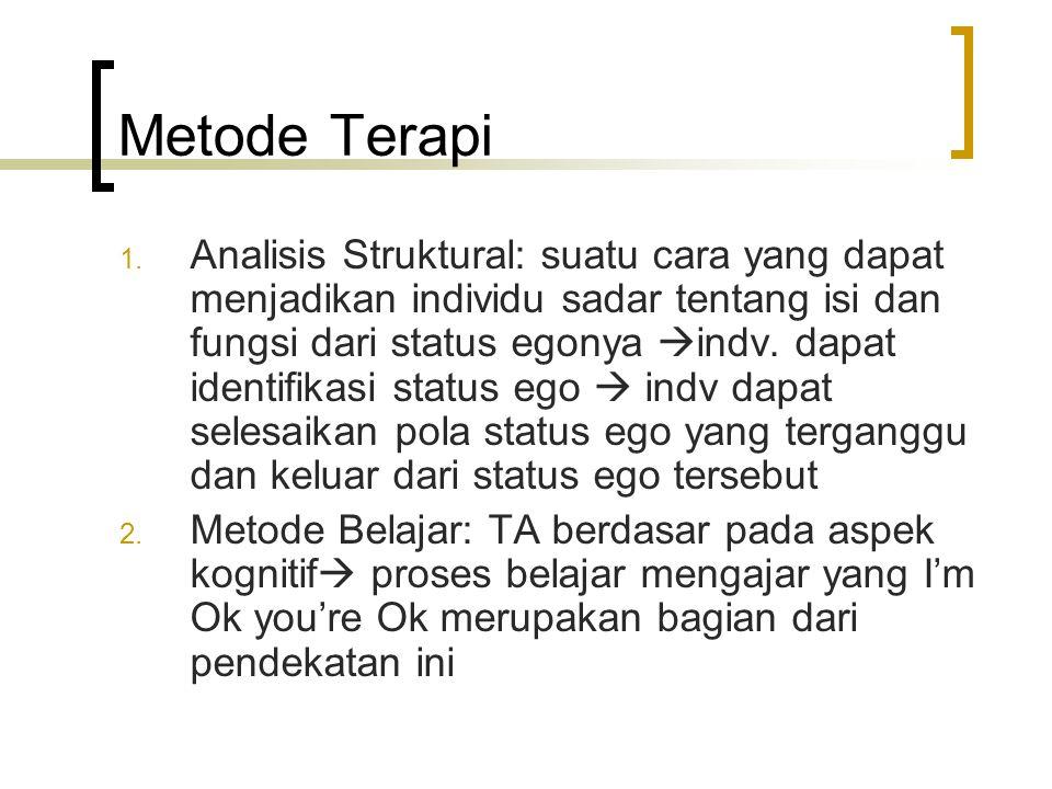 Metode Terapi 1. Analisis Struktural: suatu cara yang dapat menjadikan individu sadar tentang isi dan fungsi dari status egonya  indv. dapat identifi