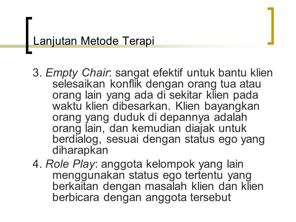 Lanjutan Metode Terapi 3. Empty Chair: sangat efektif untuk bantu klien selesaikan konflik dengan orang tua atau orang lain yang ada di sekitar klien