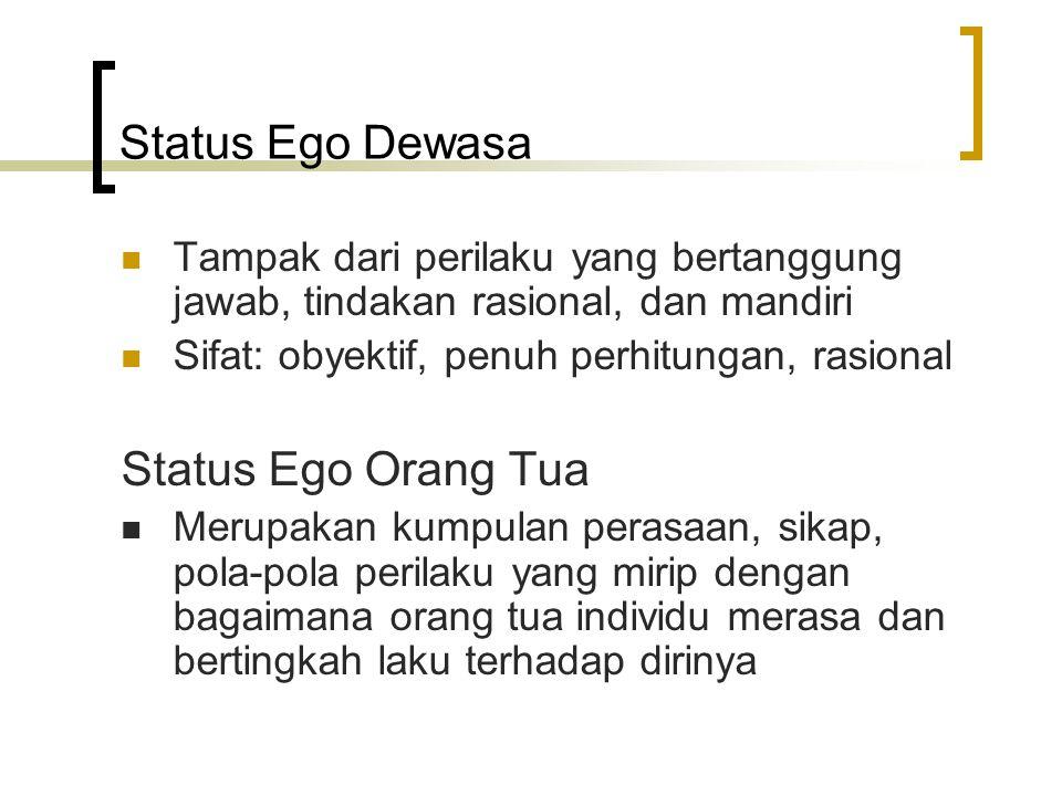 Status Ego Dewasa Tampak dari perilaku yang bertanggung jawab, tindakan rasional, dan mandiri Sifat: obyektif, penuh perhitungan, rasional Status Ego