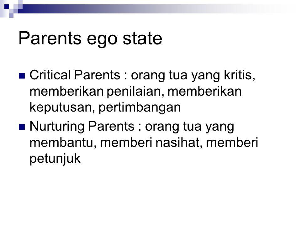 Parents ego state Critical Parents : orang tua yang kritis, memberikan penilaian, memberikan keputusan, pertimbangan Nurturing Parents : orang tua yan