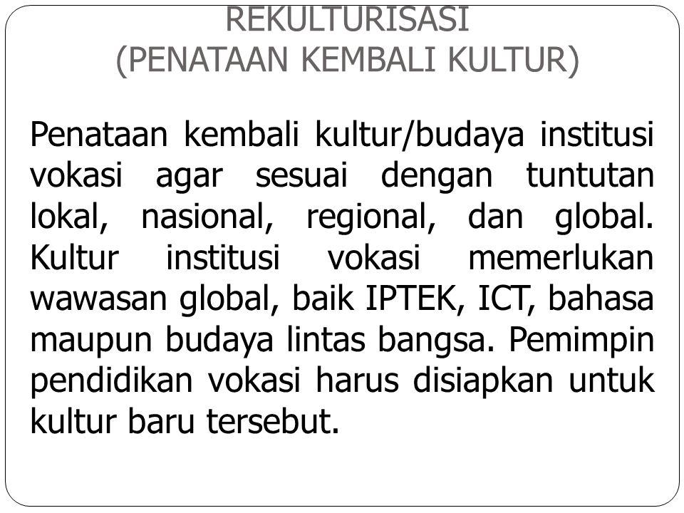 REKULTURISASI (PENATAAN KEMBALI KULTUR) Penataan kembali kultur/budaya institusi vokasi agar sesuai dengan tuntutan lokal, nasional, regional, dan glo