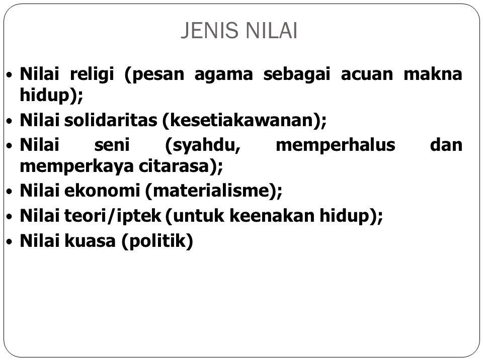 JENIS NILAI Nilai religi (pesan agama sebagai acuan makna hidup); Nilai solidaritas (kesetiakawanan); Nilai seni (syahdu, memperhalus dan memperkaya c