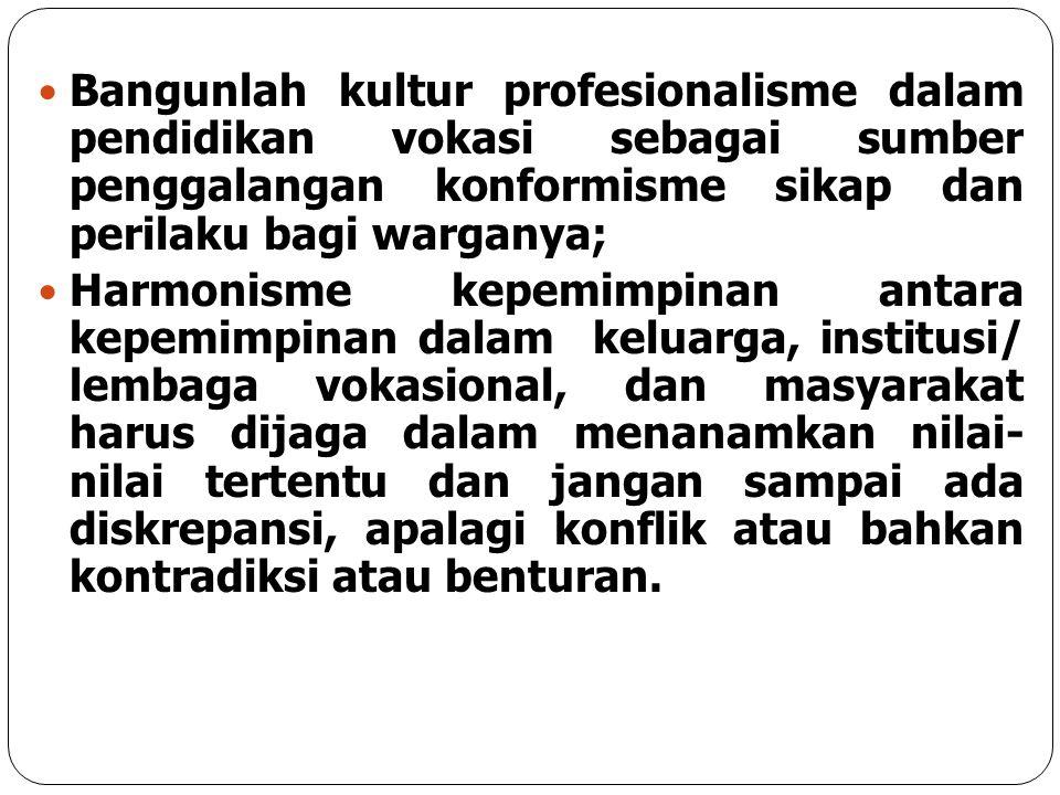 Bangunlah kultur profesionalisme dalam pendidikan vokasi sebagai sumber penggalangan konformisme sikap dan perilaku bagi warganya; Harmonisme kepemimp