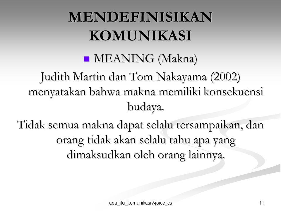 11apa_itu_komunikasi?-joice_cs MENDEFINISIKAN KOMUNIKASI MEANING (Makna) MEANING (Makna) Judith Martin dan Tom Nakayama (2002) menyatakan bahwa makna