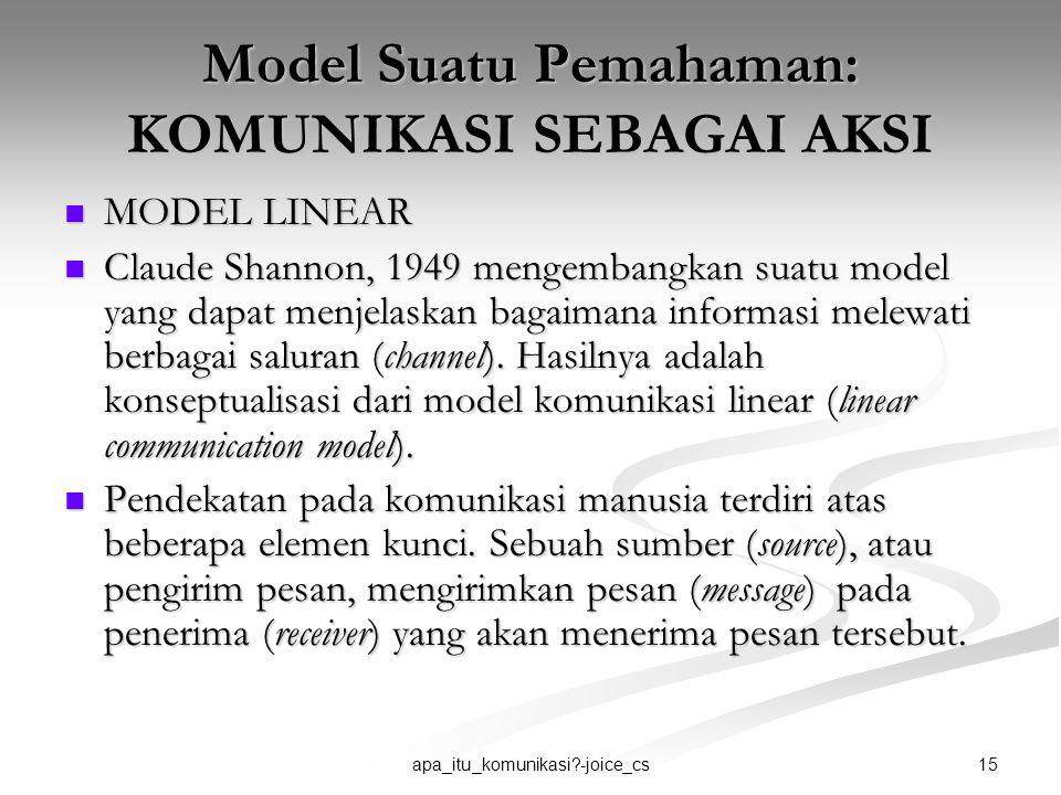 15apa_itu_komunikasi?-joice_cs Model Suatu Pemahaman: KOMUNIKASI SEBAGAI AKSI MODEL LINEAR MODEL LINEAR Claude Shannon, 1949 mengembangkan suatu model