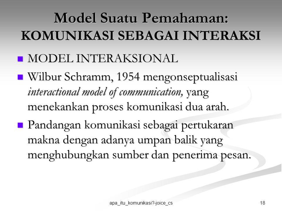18apa_itu_komunikasi?-joice_cs Model Suatu Pemahaman: KOMUNIKASI SEBAGAI INTERAKSI MODEL INTERAKSIONAL MODEL INTERAKSIONAL Wilbur Schramm, 1954 mengon
