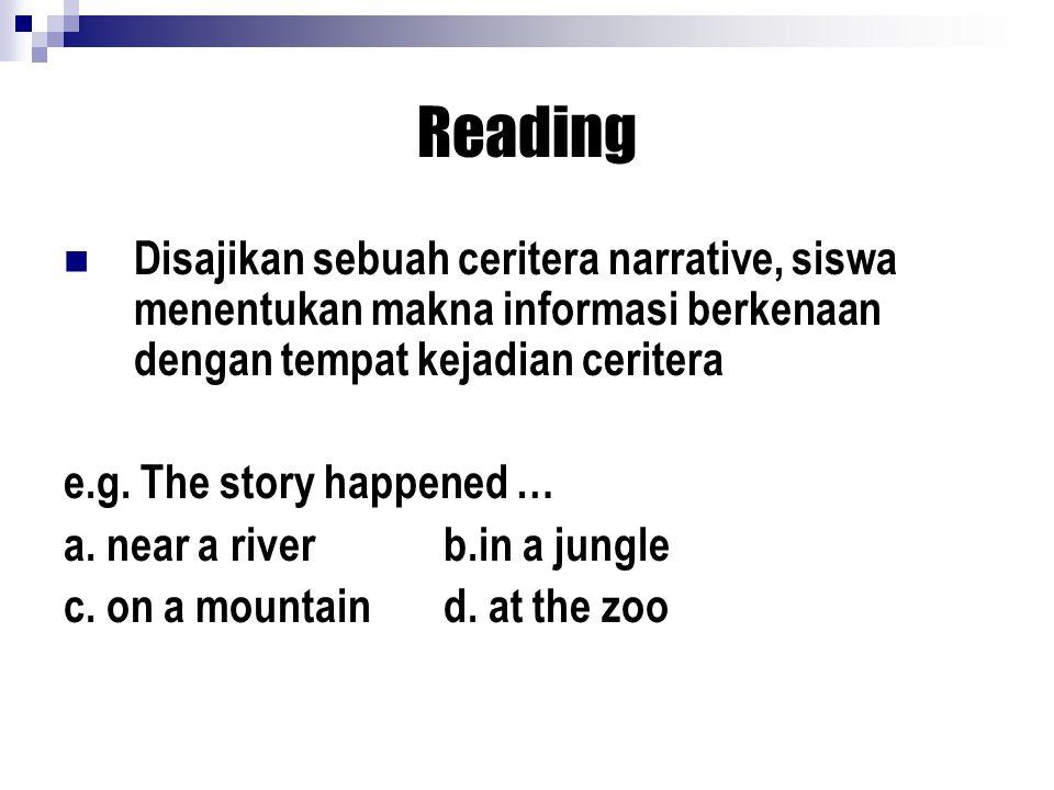 Reading Disajikan sebuah ceritera narrative, siswa menentukan makna informasi berkenaan dengan tempat kejadian ceritera e.g.