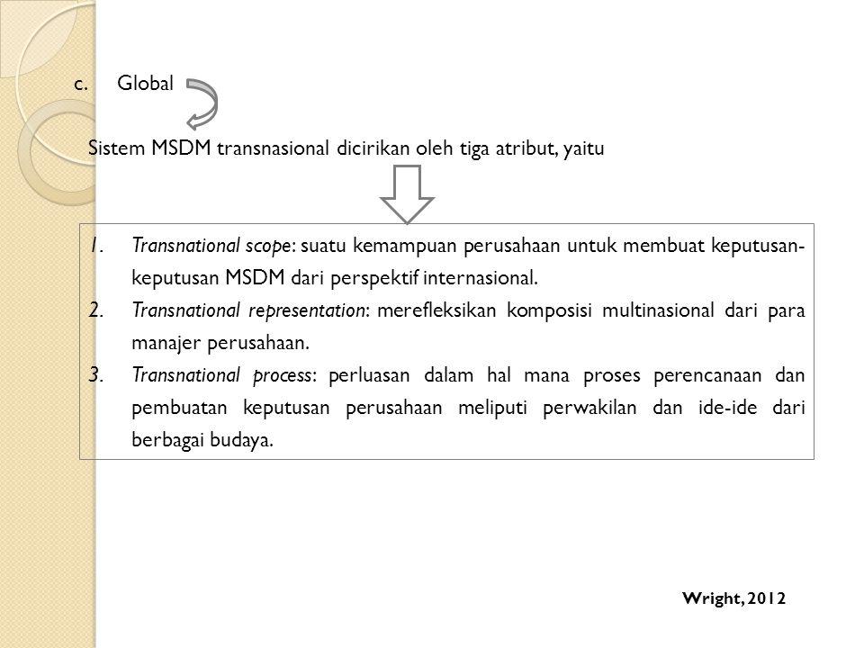 c.Global Sistem MSDM transnasional dicirikan oleh tiga atribut, yaitu 1.Transnational scope: suatu kemampuan perusahaan untuk membuat keputusan- keput