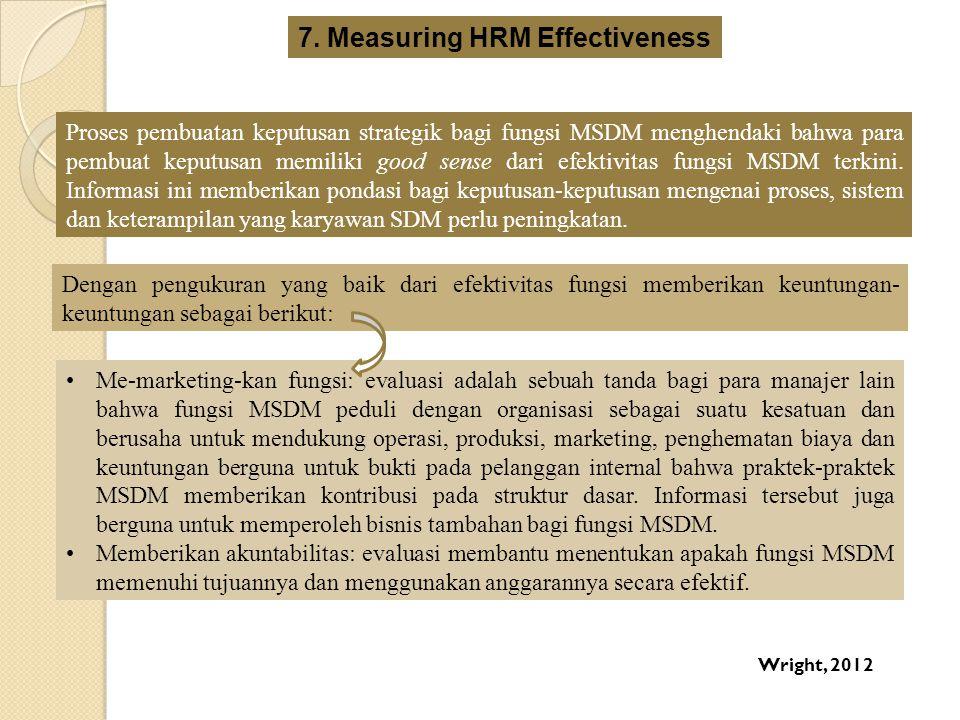 Proses pembuatan keputusan strategik bagi fungsi MSDM menghendaki bahwa para pembuat keputusan memiliki good sense dari efektivitas fungsi MSDM terkin