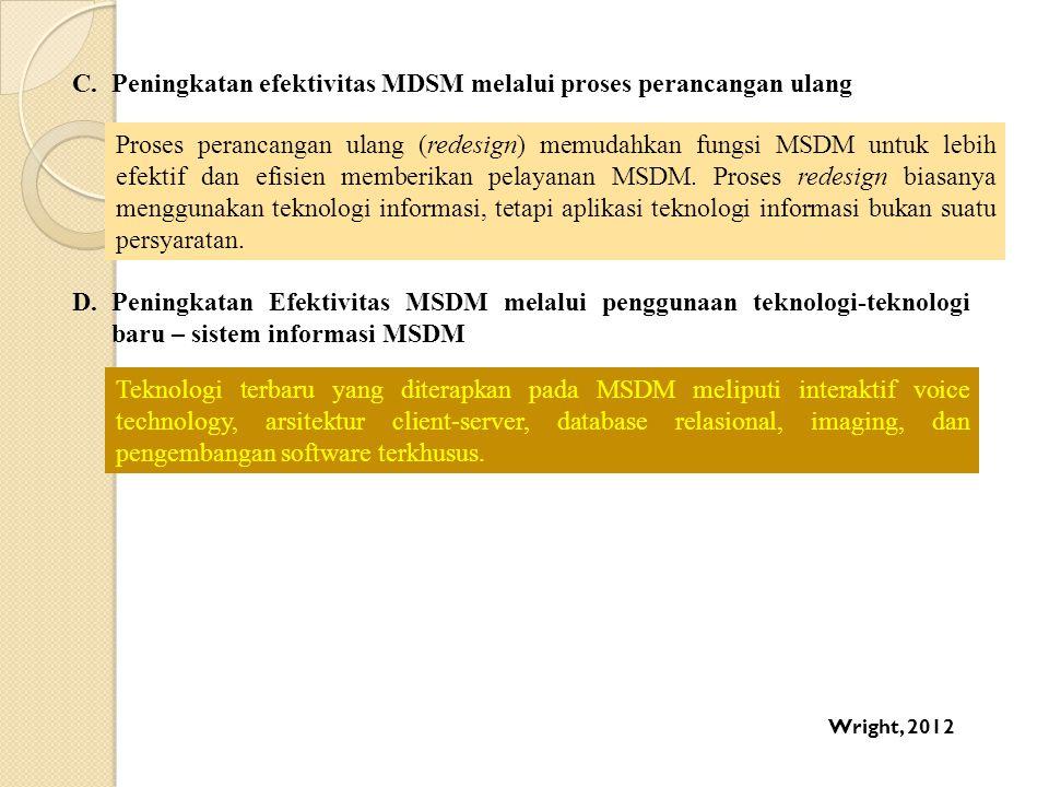 C.Peningkatan efektivitas MDSM melalui proses perancangan ulang Proses perancangan ulang (redesign) memudahkan fungsi MSDM untuk lebih efektif dan efi
