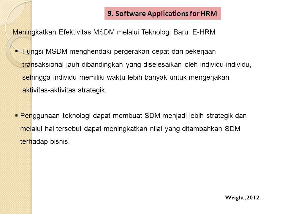9. Software Applications for HRM Meningkatkan Efektivitas MSDM melalui Teknologi Baru E-HRM  Fungsi MSDM menghendaki pergerakan cepat dari pekerjaan