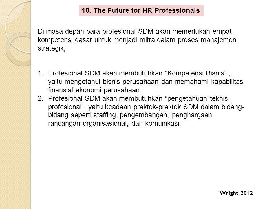 10. The Future for HR Professionals Di masa depan para profesional SDM akan memerlukan empat kompetensi dasar untuk menjadi mitra dalam proses manajem