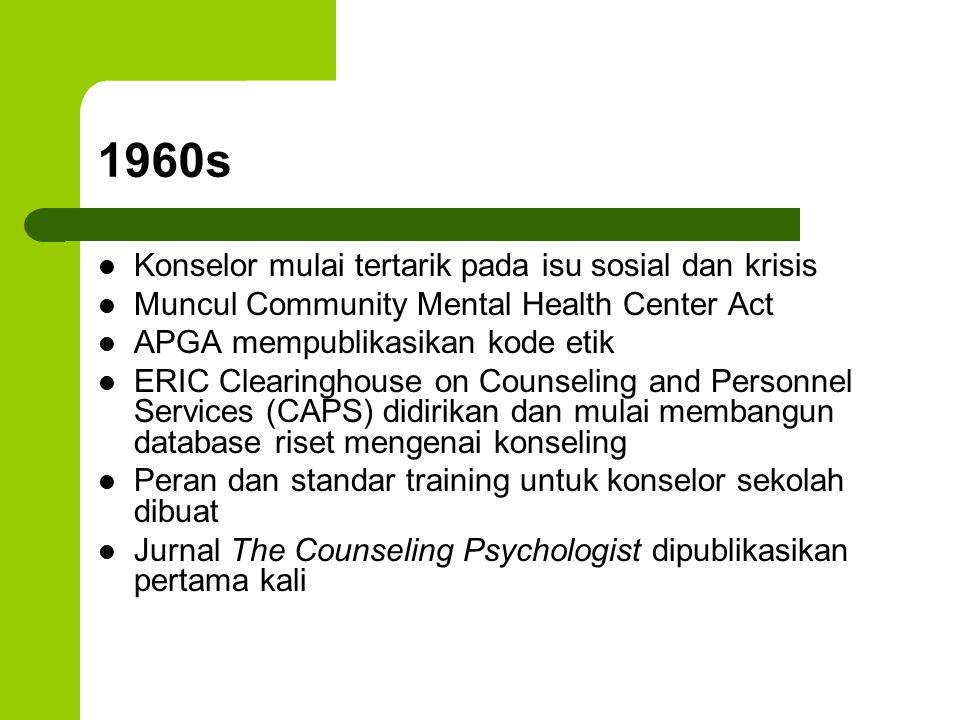 1960s Konselor mulai tertarik pada isu sosial dan krisis Muncul Community Mental Health Center Act APGA mempublikasikan kode etik ERIC Clearinghouse o