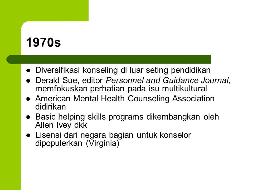 1970s Diversifikasi konseling di luar seting pendidikan Derald Sue, editor Personnel and Guidance Journal, memfokuskan perhatian pada isu multikultura
