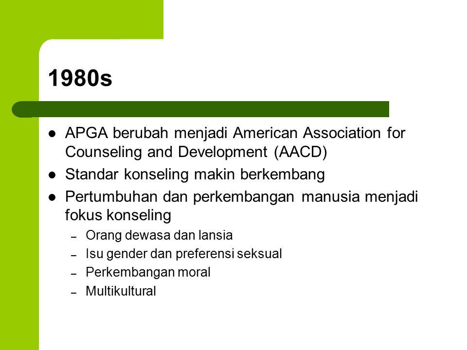 1980s APGA berubah menjadi American Association for Counseling and Development (AACD) Standar konseling makin berkembang Pertumbuhan dan perkembangan