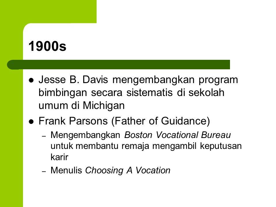 1900s Jesse B. Davis mengembangkan program bimbingan secara sistematis di sekolah umum di Michigan Frank Parsons (Father of Guidance) – Mengembangkan