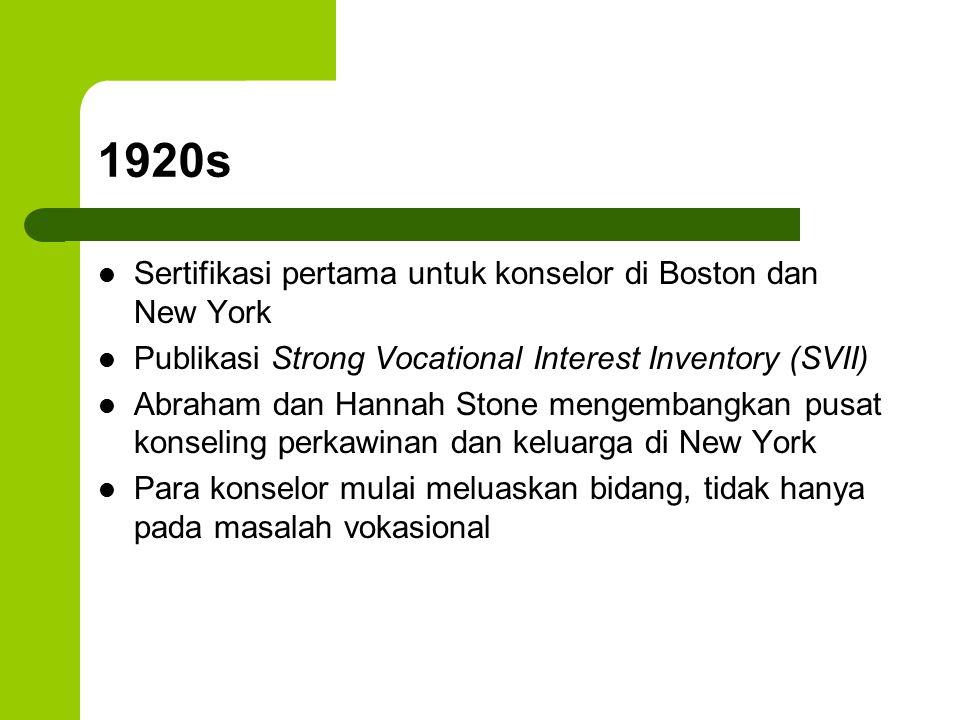 1920s Sertifikasi pertama untuk konselor di Boston dan New York Publikasi Strong Vocational Interest Inventory (SVII) Abraham dan Hannah Stone mengemb