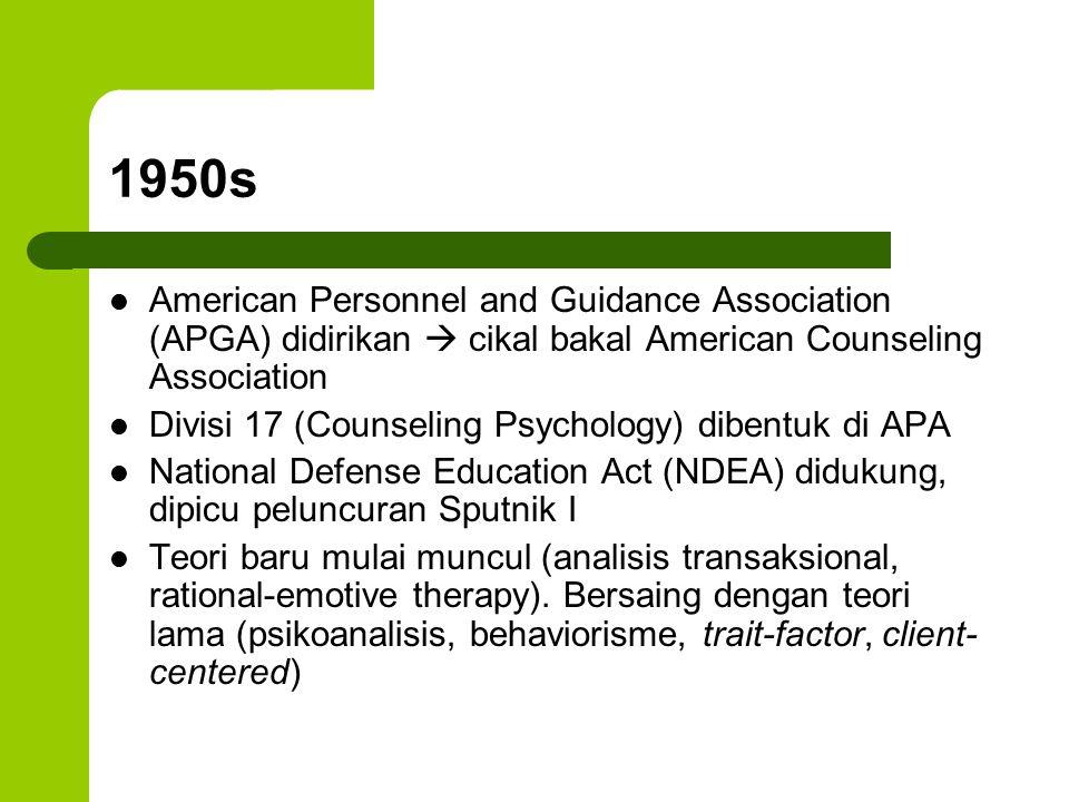 1960s Konseling pada developmental issues mendapat perhatian.