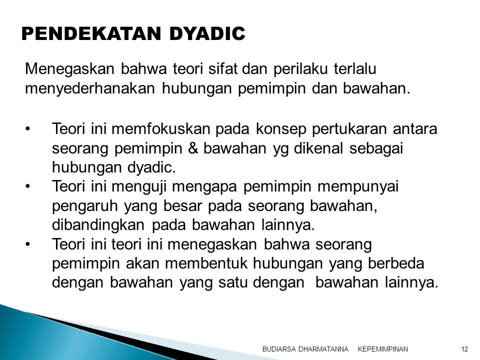 KEPEMIMPINANBUDIARSA DHARMATANNA12 Teori ini memfokuskan pada konsep pertukaran antara seorang pemimpin & bawahan yg dikenal sebagai hubungan dyadic.