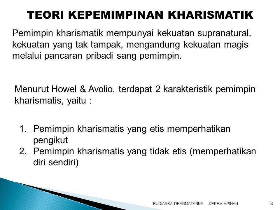 KEPEMIMPINANBUDIARSA DHARMATANNA14 1.Pemimpin kharismatis yang etis memperhatikan pengikut 2.Pemimpin kharismatis yang tidak etis (memperhatikan diri
