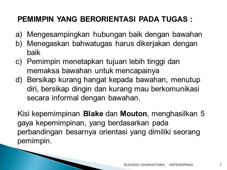 KEPEMIMPINANBUDIARSA DHARMATANNA3 a)Mengesampingkan hubungan baik dengan bawahan b)Menegaskan bahwatugas harus dikerjakan dengan baik c)Pemimpin menet