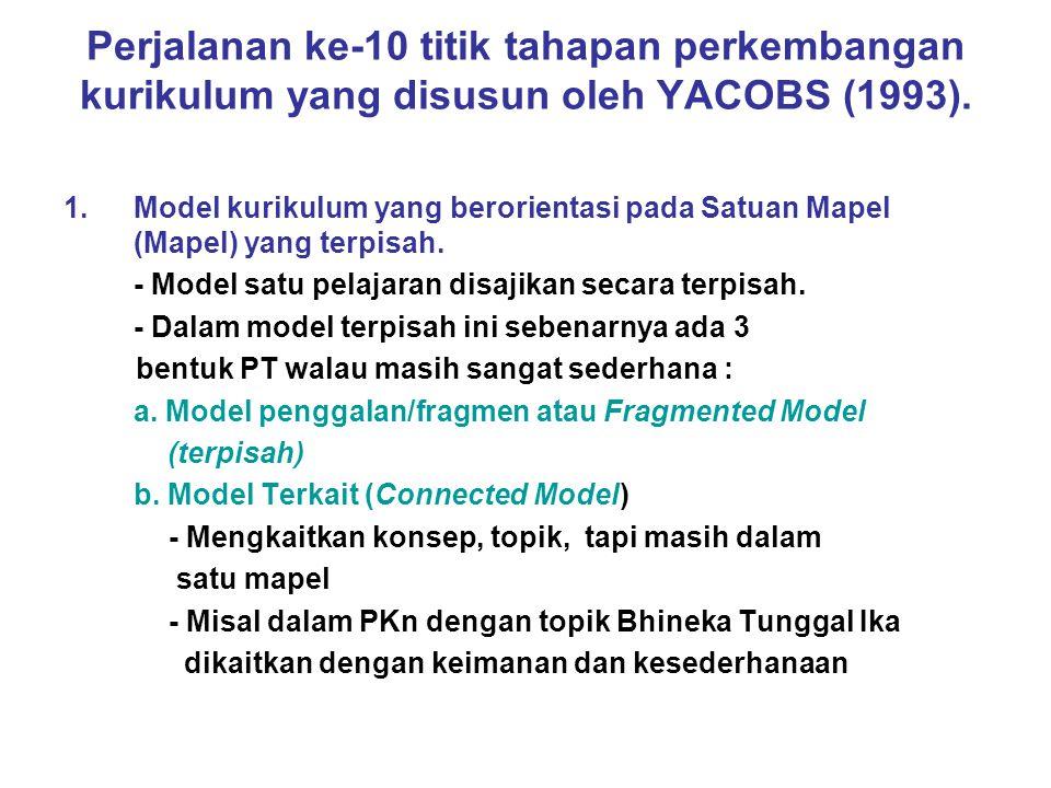 Perjalanan ke-10 titik tahapan perkembangan kurikulum yang disusun oleh YACOBS (1993). 1.Model kurikulum yang berorientasi pada Satuan Mapel (Mapel) y