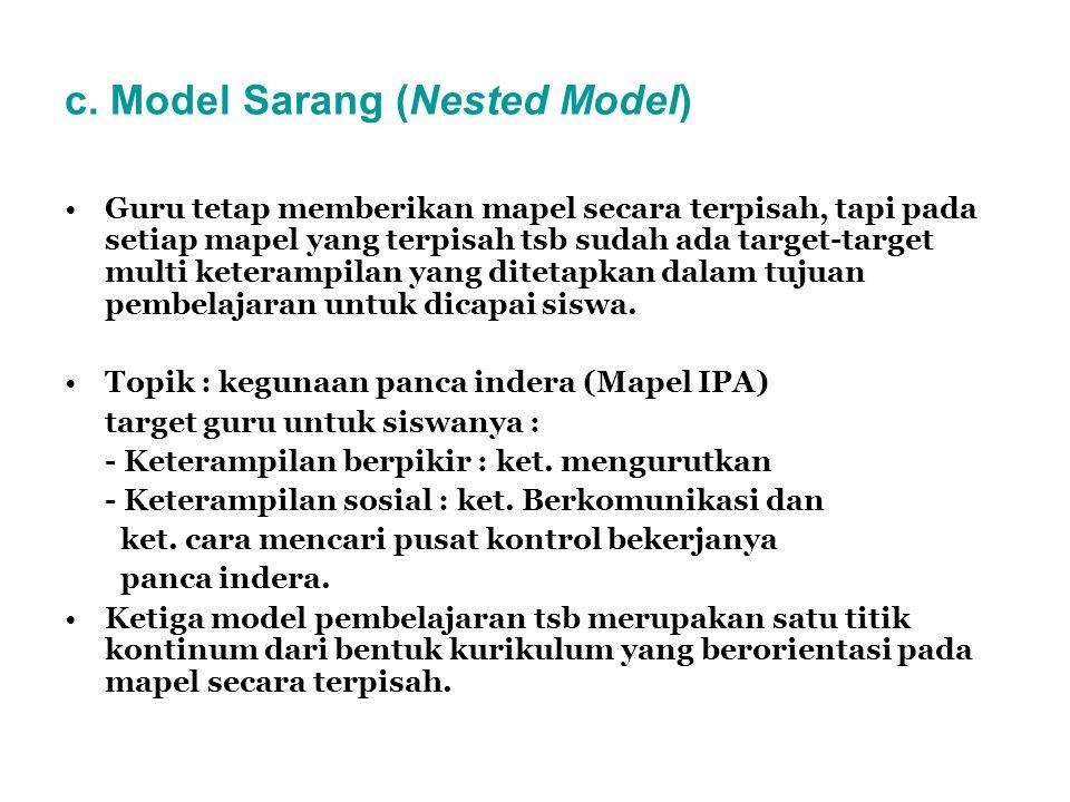 c. Model Sarang (Nested Model) Guru tetap memberikan mapel secara terpisah, tapi pada setiap mapel yang terpisah tsb sudah ada target-target multi ket