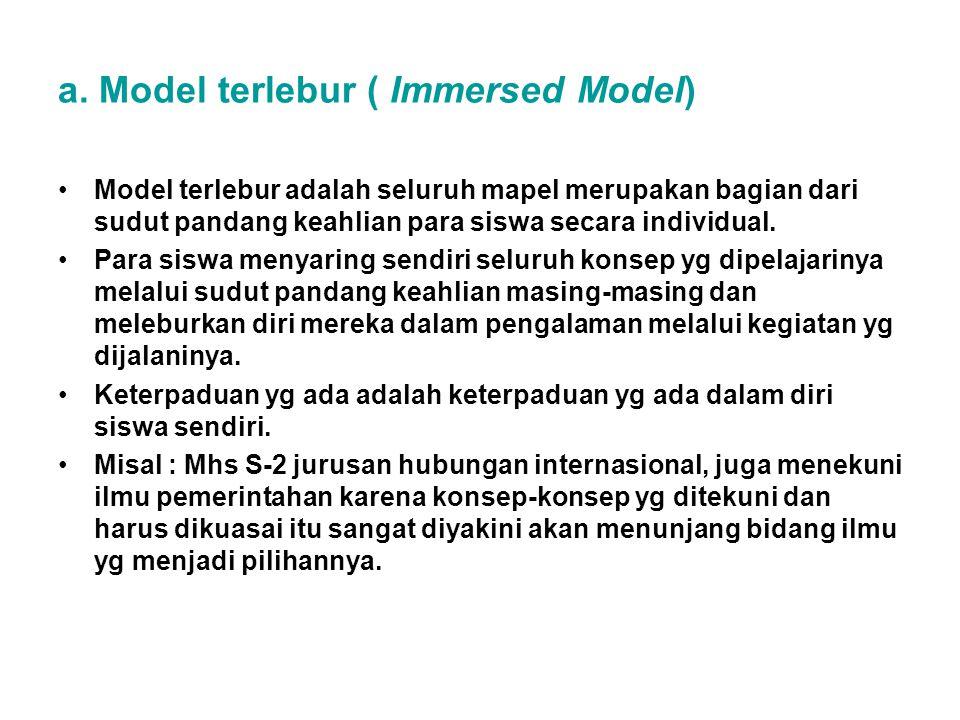 a. Model terlebur ( Immersed Model) Model terlebur adalah seluruh mapel merupakan bagian dari sudut pandang keahlian para siswa secara individual. Par