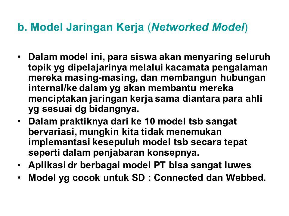 b. Model Jaringan Kerja (Networked Model) Dalam model ini, para siswa akan menyaring seluruh topik yg dipelajarinya melalui kacamata pengalaman mereka