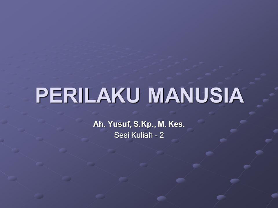PERILAKU MANUSIA Ah. Yusuf, S.Kp., M. Kes. Sesi Kuliah - 2