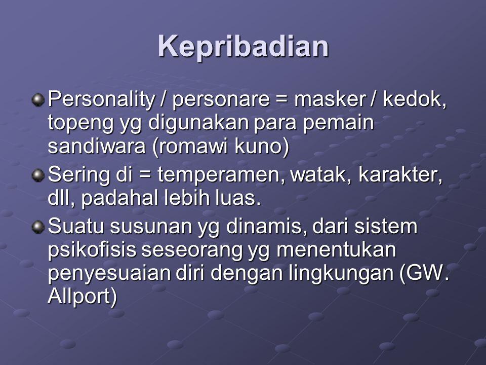 Kepribadian Personality / personare = masker / kedok, topeng yg digunakan para pemain sandiwara (romawi kuno) Sering di = temperamen, watak, karakter,