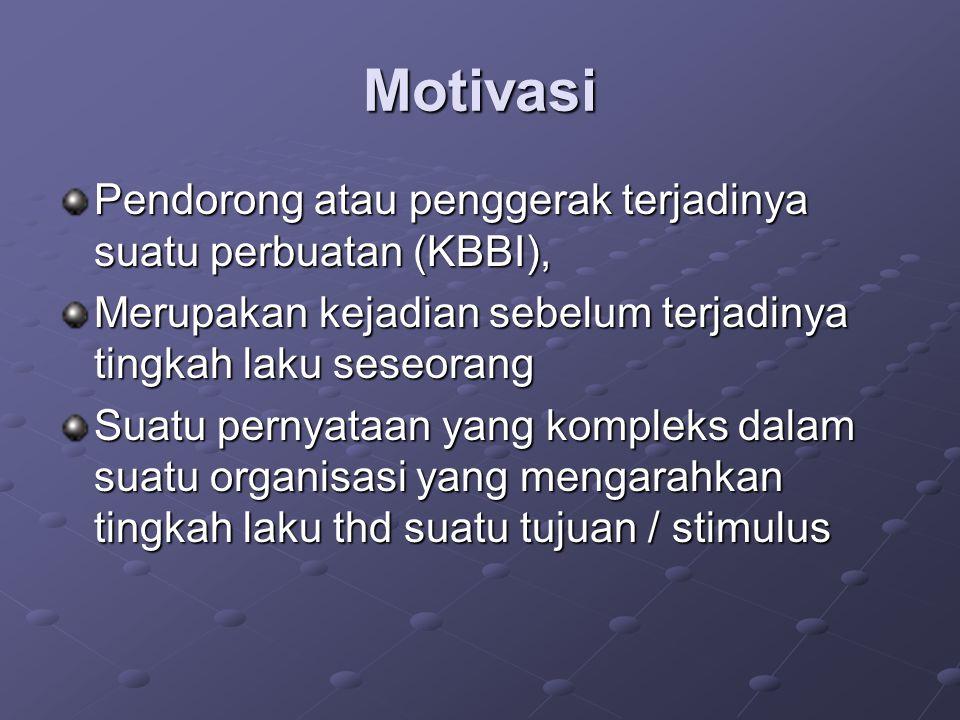 Motivasi Pendorong atau penggerak terjadinya suatu perbuatan (KBBI), Merupakan kejadian sebelum terjadinya tingkah laku seseorang Suatu pernyataan yan