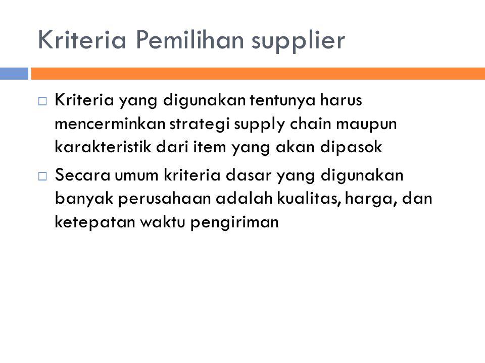 Kriteria Pemilihan supplier  Kriteria yang digunakan tentunya harus mencerminkan strategi supply chain maupun karakteristik dari item yang akan dipas