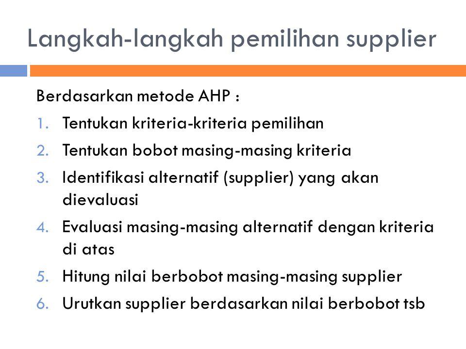 Langkah-langkah pemilihan supplier Berdasarkan metode AHP : 1. Tentukan kriteria-kriteria pemilihan 2. Tentukan bobot masing-masing kriteria 3. Identi
