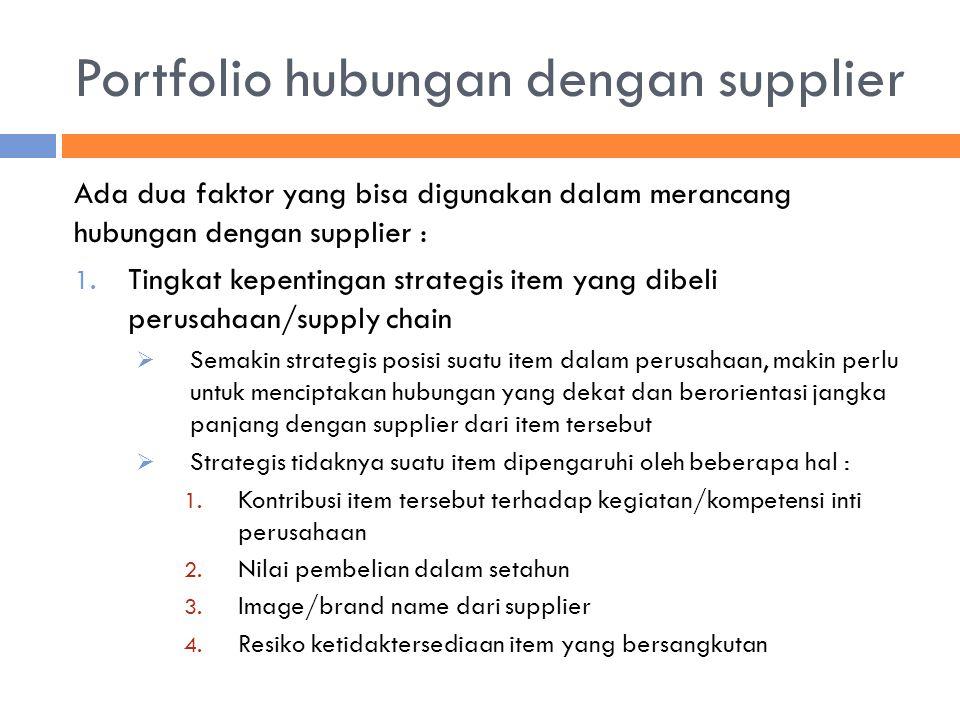 Portfolio hubungan dengan supplier Ada dua faktor yang bisa digunakan dalam merancang hubungan dengan supplier : 1. Tingkat kepentingan strategis item