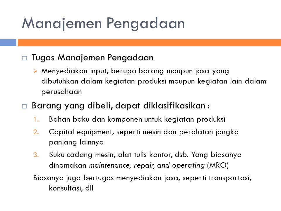 Manajemen Pengadaan  Tugas Manajemen Pengadaan  Menyediakan input, berupa barang maupun jasa yang dibutuhkan dalam kegiatan produksi maupun kegiatan