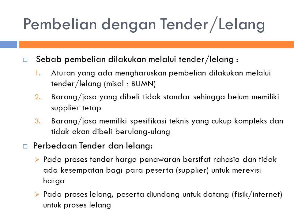Pembelian dengan Tender/Lelang  Sebab pembelian dilakukan melalui tender/lelang : 1. Aturan yang ada mengharuskan pembelian dilakukan melalui tender/