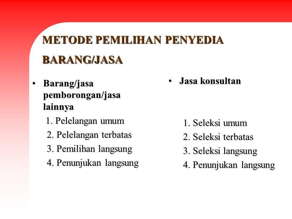 METODE PEMILIHAN PENYEDIA BARANG/JASA Barang/jasa pemborongan/jasa lainnyaBarang/jasa pemborongan/jasa lainnya 1. Pelelangan umum 1. Pelelangan umum 2