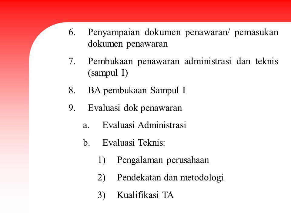 6.Penyampaian dokumen penawaran/ pemasukan dokumen penawaran 7.Pembukaan penawaran administrasi dan teknis (sampul I) 8.BA pembukaan Sampul I 9.Evalua