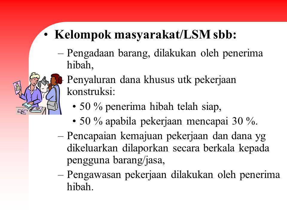 Kelompok masyarakat/LSM sbb: –Pengadaan barang, dilakukan oleh penerima hibah, –Penyaluran dana khusus utk pekerjaan konstruksi: 50 % penerima hibah t