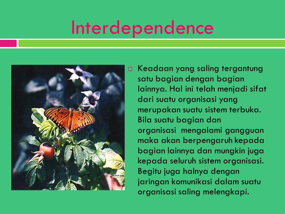 Interdependence  Keadaan yang saling tergantung satu bagian dengan bagian lainnya. Hal ini telah menjadi sifat dari suatu organisasi yang merupakan s