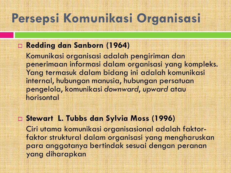 Persepsi Komunikasi Organisasi  Redding dan Sanborn (1964) Komunikasi organisasi adalah pengiriman dan penerimaan informasi dalam organisasi yang kom