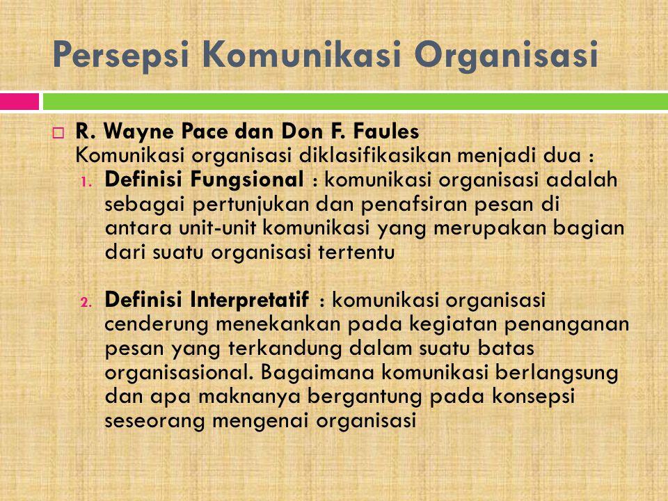 Persepsi Komunikasi Organisasi  R. Wayne Pace dan Don F. Faules Komunikasi organisasi diklasifikasikan menjadi dua : 1. Definisi Fungsional : komunik